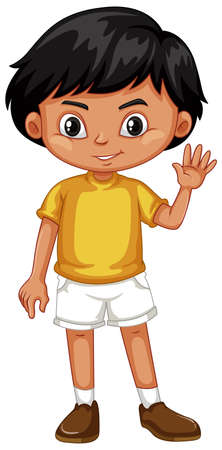 youngster: Little boy in yellow shirt illustration