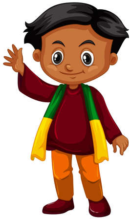 srilanka: Boy from Srilanka waving hand illustration