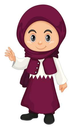Muslim girl in purple costume illustration