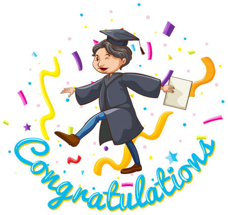 image: Congratulations card template with man holding degree illustration Illustration