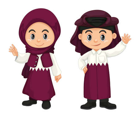 youngster: Children from Qatar in purple costume illustration Illustration