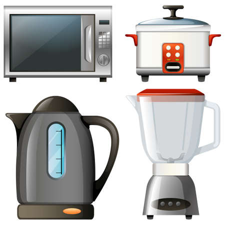 electronic: Four types of electronic kitchen devices illustration