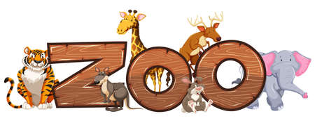 Word design for zoo with wild animals illustration