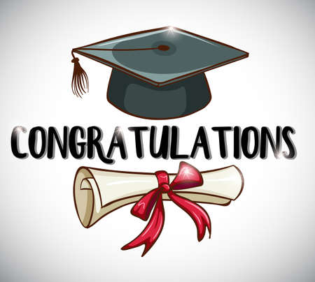Congratulations card template with cap and degree illustration