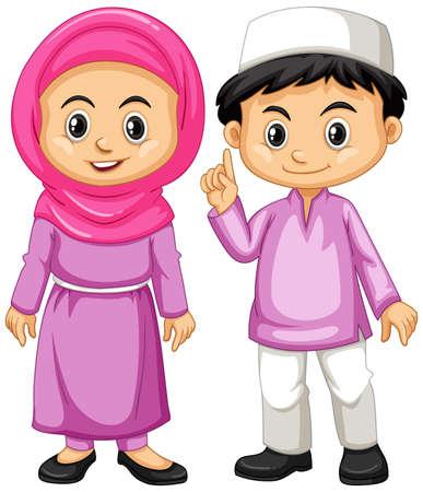 Muslim kids in purple outfit illustration