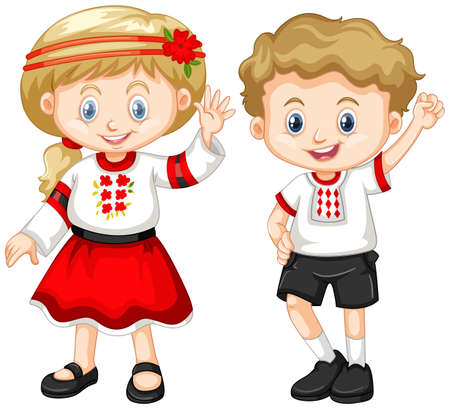 drawings image: Ukraine kids in traditional outfit illustration Illustration