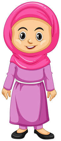 Muslim girl in pink costume illustration