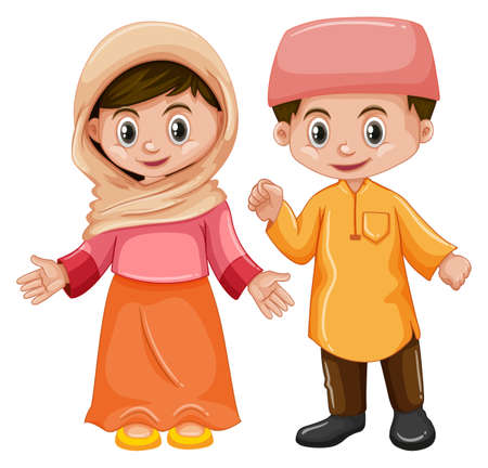 Afghanistan boy and girl with happy face illustration