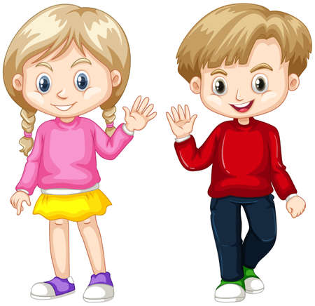 youngster: Boy and girl waving hands illustration