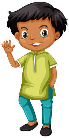 Indian boy waving hand illustration Illustration