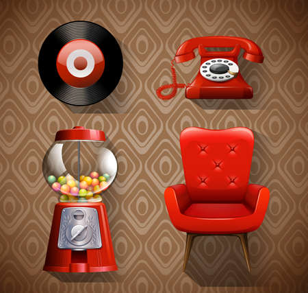 music machine: Vintage items in red color illustration Illustration
