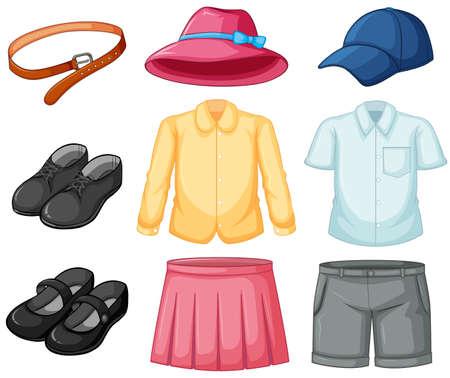 Girl and boy uniform set illustration Illustration