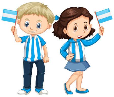 소년과 소녀 들고 아르헨티나 국기 그림 일러스트