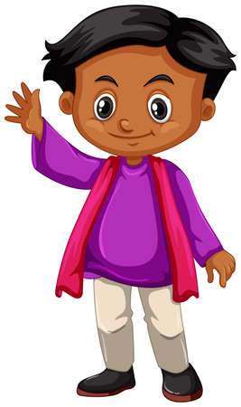 youngster: Little boy in purple shirt waving hand illustration