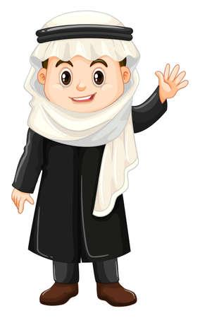 イスラム教徒の少年を振って手の図