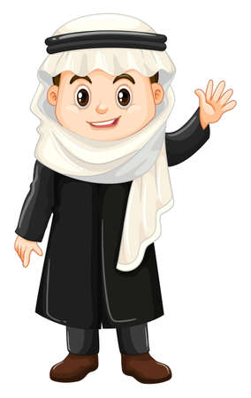 Muslim boy waving hand illustration
