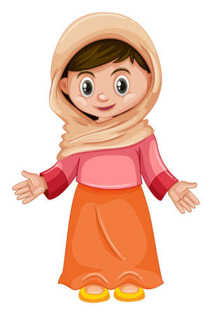 Afghanistan girl in pink and orange costume illustration