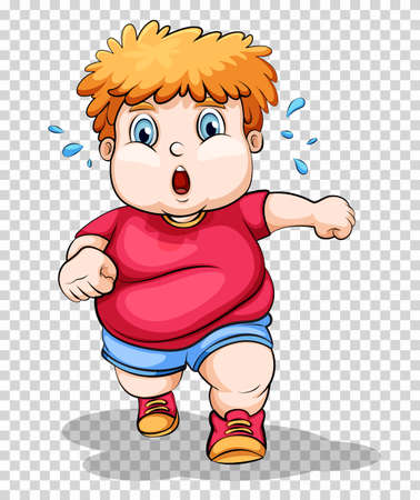Fat boy running on transparent background illustration Illustration
