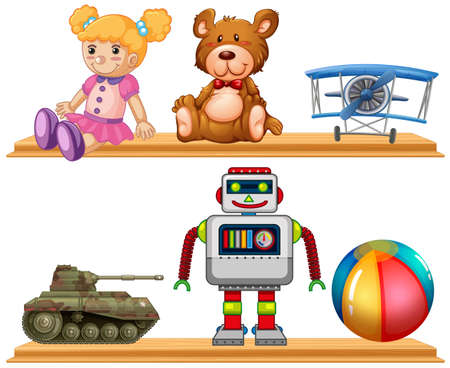 stuff toys: Different types of toys on wooden shelf illustration Illustration
