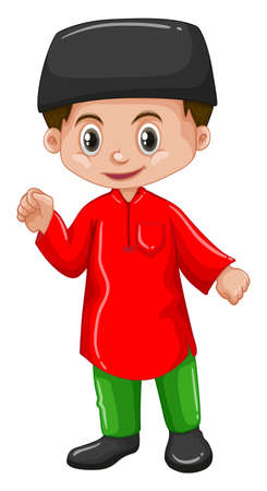 Afghanistan boy in red shirt illustration Illustration