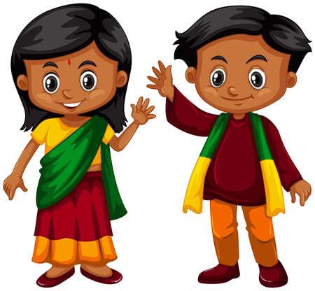 srilanka: Boy and girl from Srilanka illustration