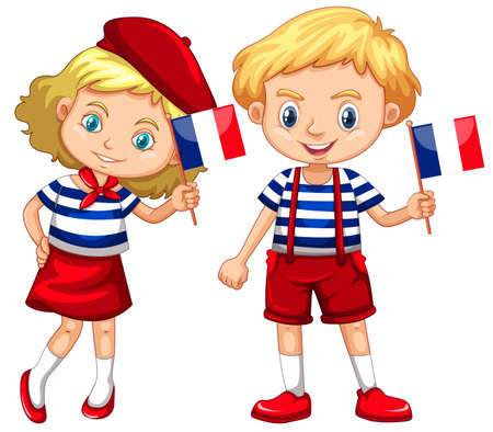 Boy and girl with flag of France illustration