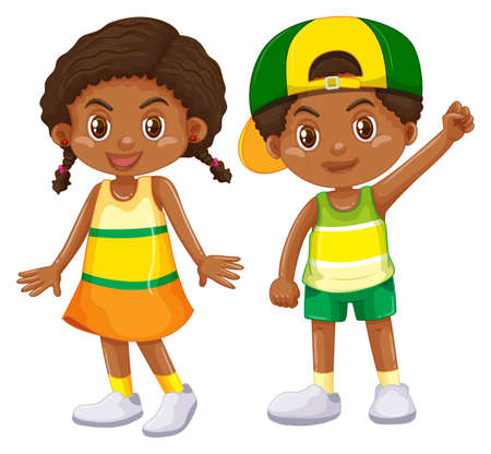 African American boy and girl illustration