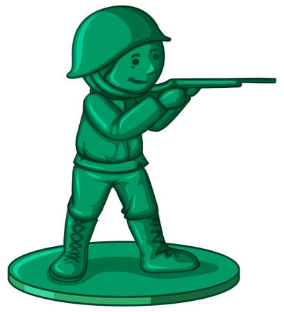 Soldier toy in green color illustration
