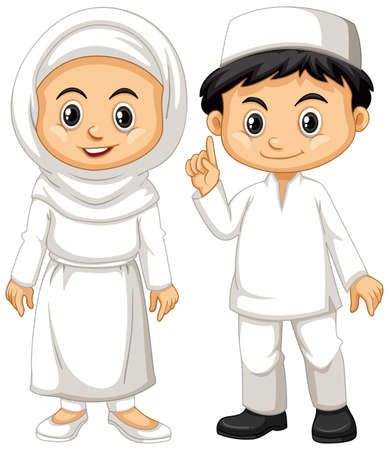 Muslim boy and girl in white outfit illustration Çizim