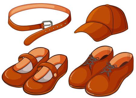 Brown shoes and belt illustration