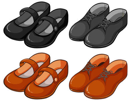 Different designs of shoes illustration