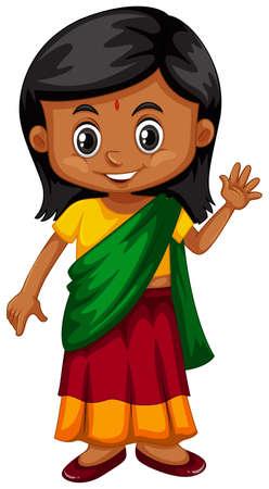 Little girl from Srilanka waving illustration