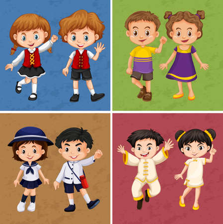 wave: Four frames of kids from different countries illustration