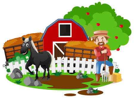 work: Farmer and horse in the farm illustration Illustration