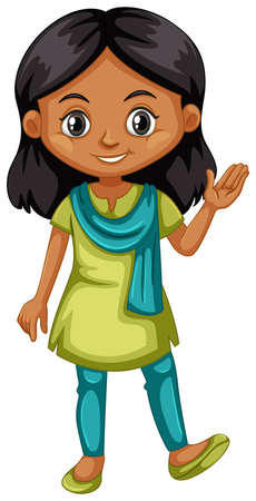 indian teenager: Indian girl in green and blue outfit illustration