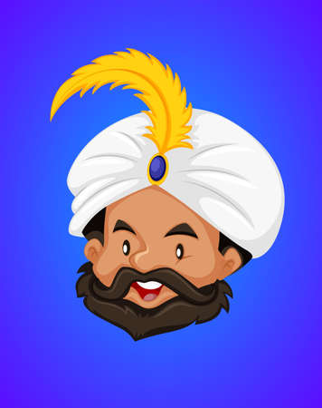 Face of Genie on blue background illustration Illustration
