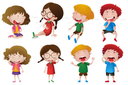 Boys and girls laughing illustration