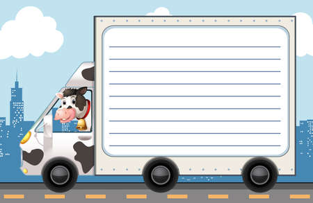 creative: Line paper template with cow in the truck illustration