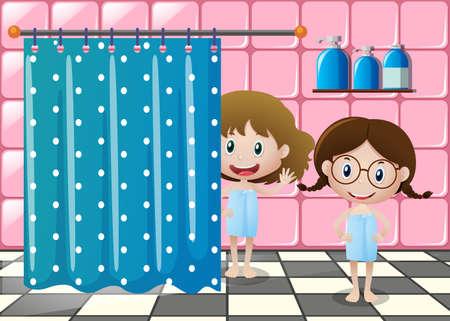 bathtime: Two girls in bathtowels in the bathroom illustration