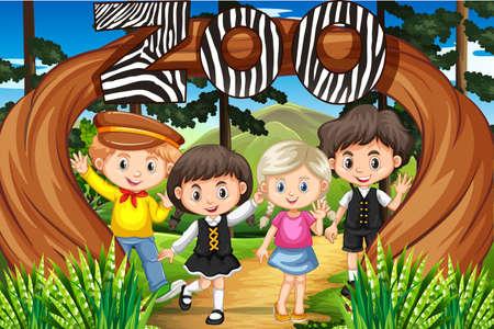 girl: Children at the zoo entrance illustration