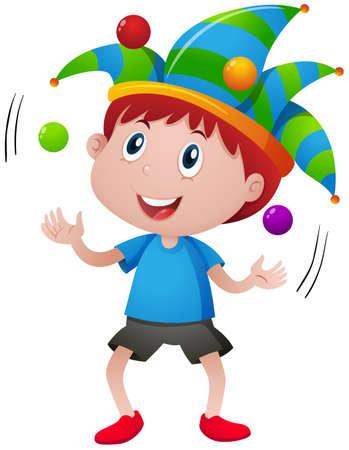 Happy boy juggling balls illustration