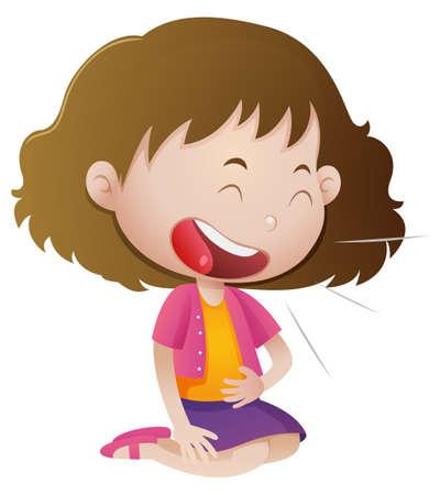Little girl laughing alone illustration