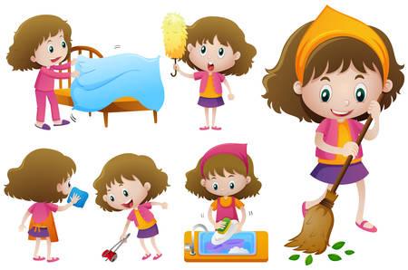Little girl doing different housework illustration. Çizim