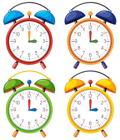 Four alarm clocks with different time illustration