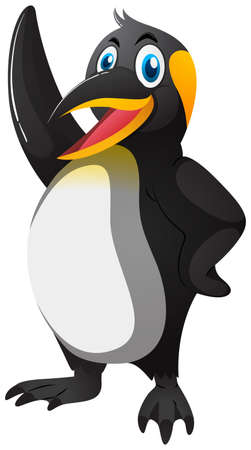 big: Happy penguin with big smile illustration