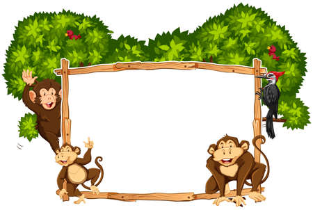 Border template with monkeys and toucan illustration