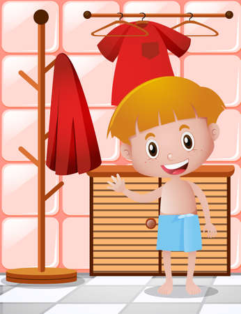 cleanliness: Little boy in blue towel illustration