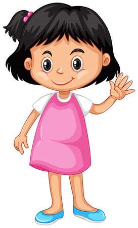 Little girl waving hand hello illustration