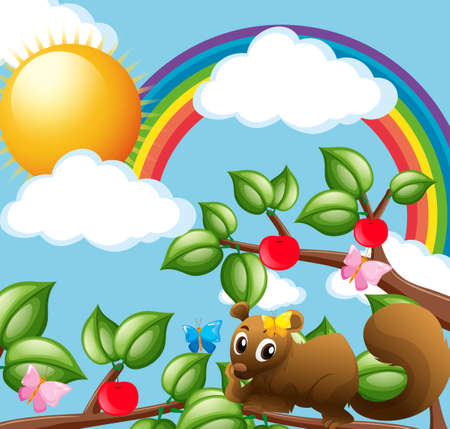 rainbow sky: Cute squirrel on the branch illustration