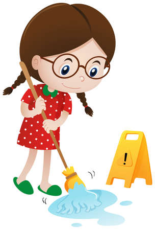 wet floor sign: Girl cleaning wet floor with mop illustration Illustration
